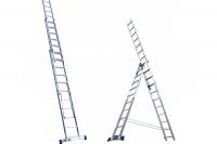 Алюминиевая трехсекционная лестница-стремянка 3х8 ступ