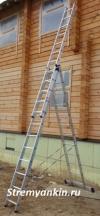 Алюминиевая трехсекционная лестница-стремянка 3х12 ступ
